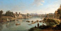 Caspar van Wittel – Mompesson House. View up the Tiber from the Via Marmorata, Rome (c. 1690s-1710s)