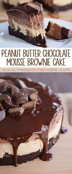 Peanut Butter Chocolate Mousse Brownie Cake … this just looks like the perfect peanut butter/brownie dessert. Peanut Butter Desserts, Chocolate Desserts, Cake Chocolate, Peanut Butter Mousse Pie, Chocolate Chocolate, Choclate Brownies, Butter Mochi, Chewy Brownies, Chocolate Party
