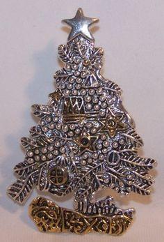Vintage Dual Metal Christmas Tree Pin Necklace Slide Signed MJ
