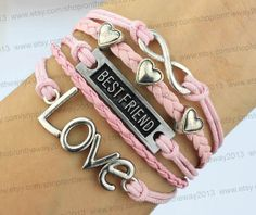 Silver Infinity best friend bracelet friendship Tiny heart bracelet Love bracelet Birthday gift  best friend bracelet BFF, $6.19