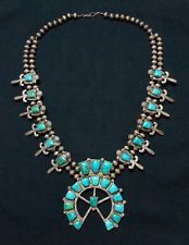 LARGE OLD PAWN 40s Navajo 925 Silver Blue Gem Turquoise Squash Blossom Necklace