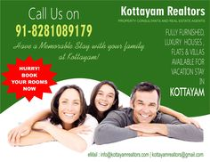 Furnished Houses / Villas / Apartments available for NRI for short stay in Kottayam, Thiruvalla & Allepey