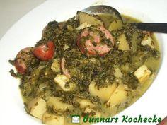 Grünkohleintopf mit Kartoffeln und Kochwurst
