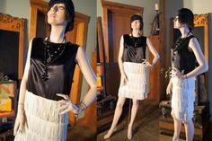 Vintage love - fringe flapper black and cream mini - shake it medium 50s did 20s by SashaShoppe on Etsy