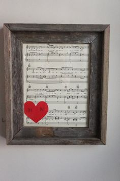 Rustic Frame Sheet Music Wedding Anniversary First Dance Red Heart Stamp Initials Personalized Gift Barn Wood via Etsy
