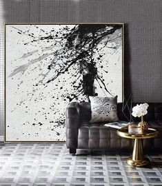 Minimalist Drip Painting Minimalist Drip Painting Mina Maria Inspiration Hand-painted Minimalist Drip painting on canvas black white grey We aim to nbsp hellip canvas black and white Toile Design, Tableau Design, Black And White Painting, Black White Art, Drip Painting, Texture Painting, Drip Art, Abstract Canvas, Canvas Art