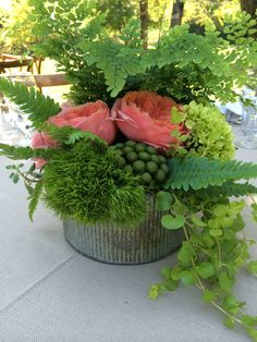 maiden Hair ferns in rustic galvanized container