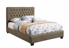 Chloe Traditional Burlap Wood Fabric Queen Bed