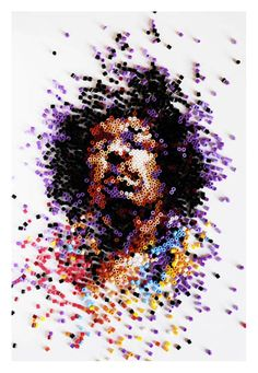 Jimi Hendrix portrait created from plastic pegs by Ian Wright. Hama Beads, Seed Beads, Pixel Art, Jimi Hendricks, Neville Brody, Ian Wright, Art Perle, We Will Rock You, Grafik Design