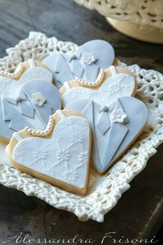 Silver tux and gown wedding cookies