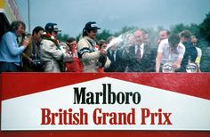 Alan Jones celebrating the win at the 1980 British GP, Brands Hatch Williams F1, British Grand Prix, Looking Back, Formula 1, Over The Years, Race Cars, F1 Racing, History, Celebrities