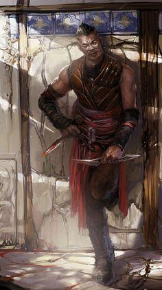m Rogue Assassin Leather Armor Dual Daggers Poison urban City street alley Toron the Unseen lg Fantasy Male, High Fantasy, Fantasy Warrior, Fantasy Rpg, Fantasy Portraits, Character Portraits, Character Art, Dnd Characters, Fantasy Characters