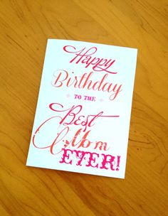 Birthday Card Mom Best Mom Ever Red by BallerinaRoseDesigns