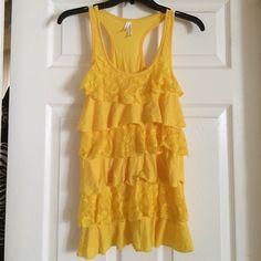 Yellow Lace Ruffle Top Yellow Lace Ruffle Top Tops Tank Tops