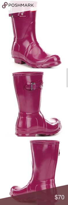 "Hunter Original Short Gloss Buckle Strap Rain Boot Condition: rarely used handcrafted waterproof rubber upper with gloss finish pull-on construction with decorative buckled strap nylon lining rubber outsole with signature tread 10"" shaft height 15.25"" shaft circumference 1"" heel  Any questions ask! I will post real photos by request. Hunter Shoes Winter & Rain Boots"