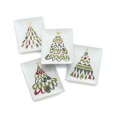 Jolly Tree Appetizer Plates Set of Four | Crate and Barrel