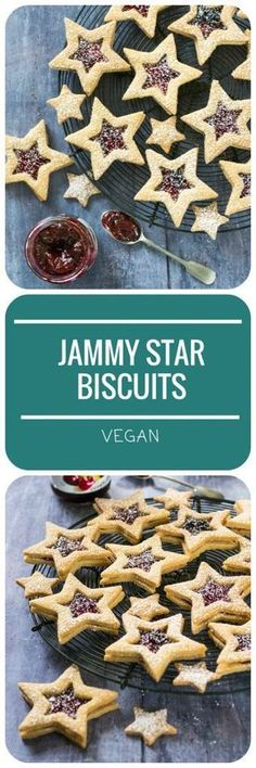 These #Vegan Jammy Star Biscuits are a cute and delicious baking project, perfect for #Christmas or any other time of year! Crumbly shortbread filled with sweet cherry jam, they would make a lovely gift from the kitchen, tied up in a cellphone bag. Great Christmas Cookies - just like Vegan Linzer Biscuits!