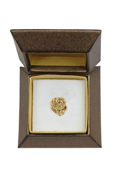 NEW, French Mastiff, dog pin, in casket, gold plated, limited edition, ArtDog