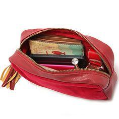 EUR € 8.36 - Wine Red PU Himmeä tupsut Clutch Cosmetic Bag Meikki säilytyslaukku vapaa laivaliikenteen kaikki gadgetit!