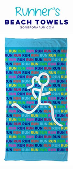 Run run run, because it's so much fun fun fun! Show off your love for running with our runner's beach towels! Shop this style and more exclusively on goneforarun.com.