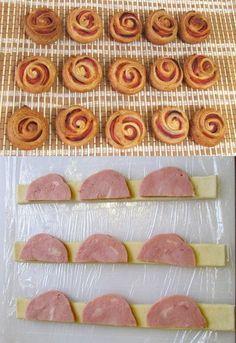 """Колбасные """"розочки"""" в слоеном тесте  - Тесто слоеное дрожжевое (или бездрожжевое) 1 упаковка - Колбаса вареная или с \ к  Приготовление:  Тесто разморозить при комнатной температуре. Порезать вдоль на полоски шириной около 2 см.  Колбасу нарезать тонкими кружочками и разрезать пополам.  На полоску, немного внахлест, укладываем половинки колбасы, оставляя конец свободным.  Сворачиваем комплекс в рулетик.  Конец подворачиваем под низ нашей """"розочки""""."""