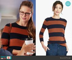 Banana Republic Rugby Stripe Sweater worn by Melissa Benoist on Supergirl Neo Grunge, Grunge Style, Fashion 90s, Cute Fashion, Fashion Outfits, Fashion Fall, Style Geek, My Style, Supergirl Outfit