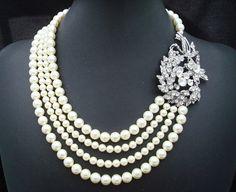 Bridal Rhinestone NecklaceIvory Swarovski Pearls by DivineJewel, $120.00