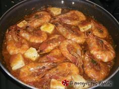 Shrimps with feta cheese (saganaki) Greek Dishes, Fish Dishes, Tasty Dishes, Greek Desserts, Greek Recipes, Fish Recipes, Great Appetizers, Appetizer Recipes, Greek Cooking