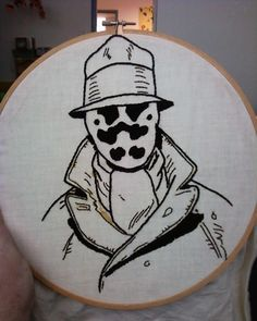 Rorschach Embroidery: by Katie Cowden. My second favorite Watchmen character (behind the Comedian, heh) by teri-71