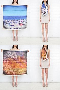 A great example of VM, it shows the whole print and then how it can be worn, giving the customer the best idea of how the item looks modelled as well as as a whole, a good idea for a digital lookbook | VISUAL MERCHANDISING