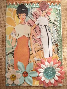 Retro ATC | Donetta Farrington | Flickr Atc Cards, Card Tags, Art Trading Cards, Sewing Cards, Vintage Crafts, Vintage Sewing, Sewing Rooms, Pics Art, Art Journal Inspiration