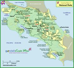 Costa Rica National Park Map Learn how to move, live, work, and retire in Costa Rica! www.becominganexpat.com