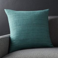 Shop Michaela Azure Blue Pillow with Feather-Down Insert. Textural, hand-spun silk in rich, tonal colors creates a touchable, down-to-earth pillow with high-impact style. Small Sectional Couch, Leather Couch Sectional, Sofa Couch, Couch Pillows, Couches, Teal Throw Pillows, Floral Pillows, Decorative Throw Pillows, Faux Leather Couch