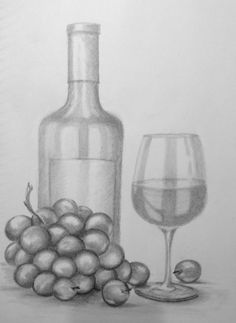 Wine bottle, glass and grapes Glasses, bottles and grapes are great subject for practicing reflections, shiny surfaces and transparent objects. Shading Drawing, Pencil Sketch Drawing, Pencil Shading, Pencil Art Drawings, Still Life Sketch, Still Life Drawing, Still Life Art, Wine Glass Drawing, Bottle Drawing