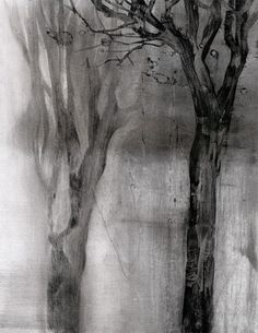 "Iskra Johnson, 'Duo', 2007, from ""Winter Park"" series, charcoal dust and water, 10"" x 8"". Image courtesy the artist."