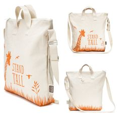 """Stand Tall"" Kids zipper tote bag *giraffe* made in SF, CA USA."