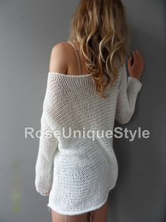 Slouchy/ Spring/Summer cotton sweater. Loose by RoseUniqueStyle