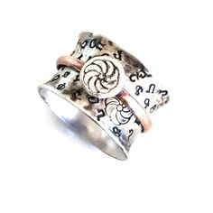 """Armenian Ring with Hand stamped Alphabet and """"Armenian Eternity Symbol""""…"""