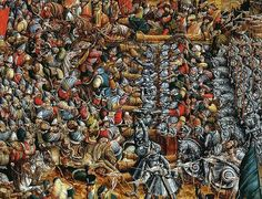 с.1524-30.Battle of Orsha (detail). tempera on oak board.National Museum in Warsaw (NMW)Attrib.to Hans Krell.the battle which was fought on 8 September 1514 betw.the allied forces of the Grand Duchy of Lithuania and Kingdom of Poland and the army of Grand Duchy of Moscow.