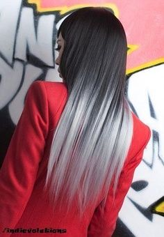 dark to silver ombre hair