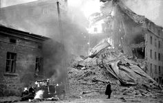 A building on fire from Soviet aerial bombing in Helsinki, Finland - 30th of November 1939.