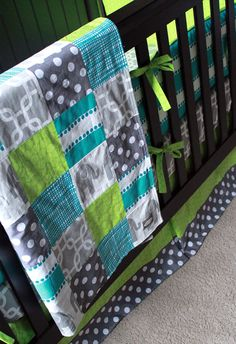 Custom Crib Bedding - Turquoise, Grey And Lime Green