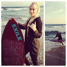 Hijabi surfer with grace and moxy Beautiful Muslim Women, Beautiful Hijab, Hijab Niqab, Hijab Outfit, Muslim Fashion, Hijab Fashion, Sports Hijab, Turban, Muslim Images