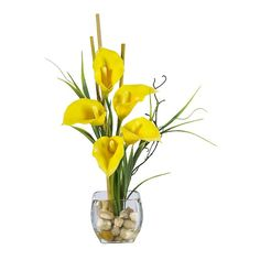 Calla Lily with Bamboo Centerpiece, Yellow