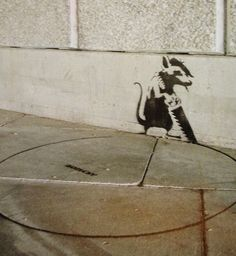 A Rat with Suicidal Tendency by Mr. Street Art Banksy, Banksy Graffiti, Bansky, Graffiti Tattoo, Stencil Street Art, Stencil Graffiti, Stencil Art, Stencils, Best Street Art