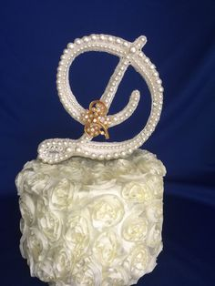 custom  pearl  monogram cake topper cake by TheCrystalFlower