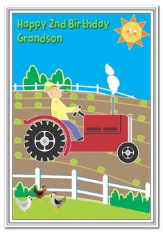 2nd Birthday Cards for Boys - 2 Year Old Boy - Age Two Baby Card - Best Quality (Grandson 2nd Birthd