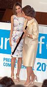 Queen Letizia of Spain deliveries 2015 UNICEF Award to Queen Sofia at CSIC headquaters on June 23 2015 in Madrid Spain