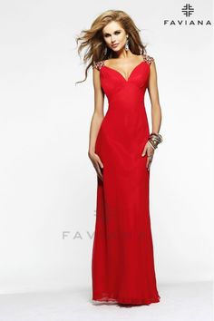 Turn heads in this exquisite evening dress from Faviana 7301. The dazzling bodice has glittering, bejeweled cap sleeves and is designed to showcase your dolletage. This glamorous look will skim your shape and flatter your figure to the luxurious full-length hem. Sultry open back detailing completes this incredible red carpet style.