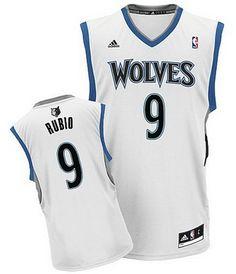 9c63fe050 Adidas NBA Minnesota Timberwolves 9 Ricky Rubio New Revolution 30 Swingman  Home White Jersey
